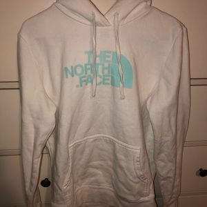 White North Face Hoodie with teal lettering